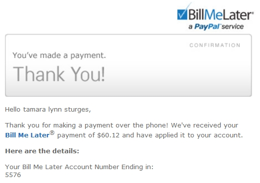 Your Bill Me Later notice