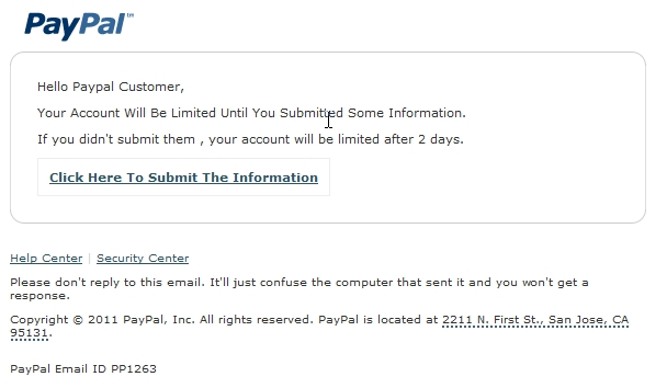 Phishing: Your Paypal Account Will Be Limited - URLVoid Blog